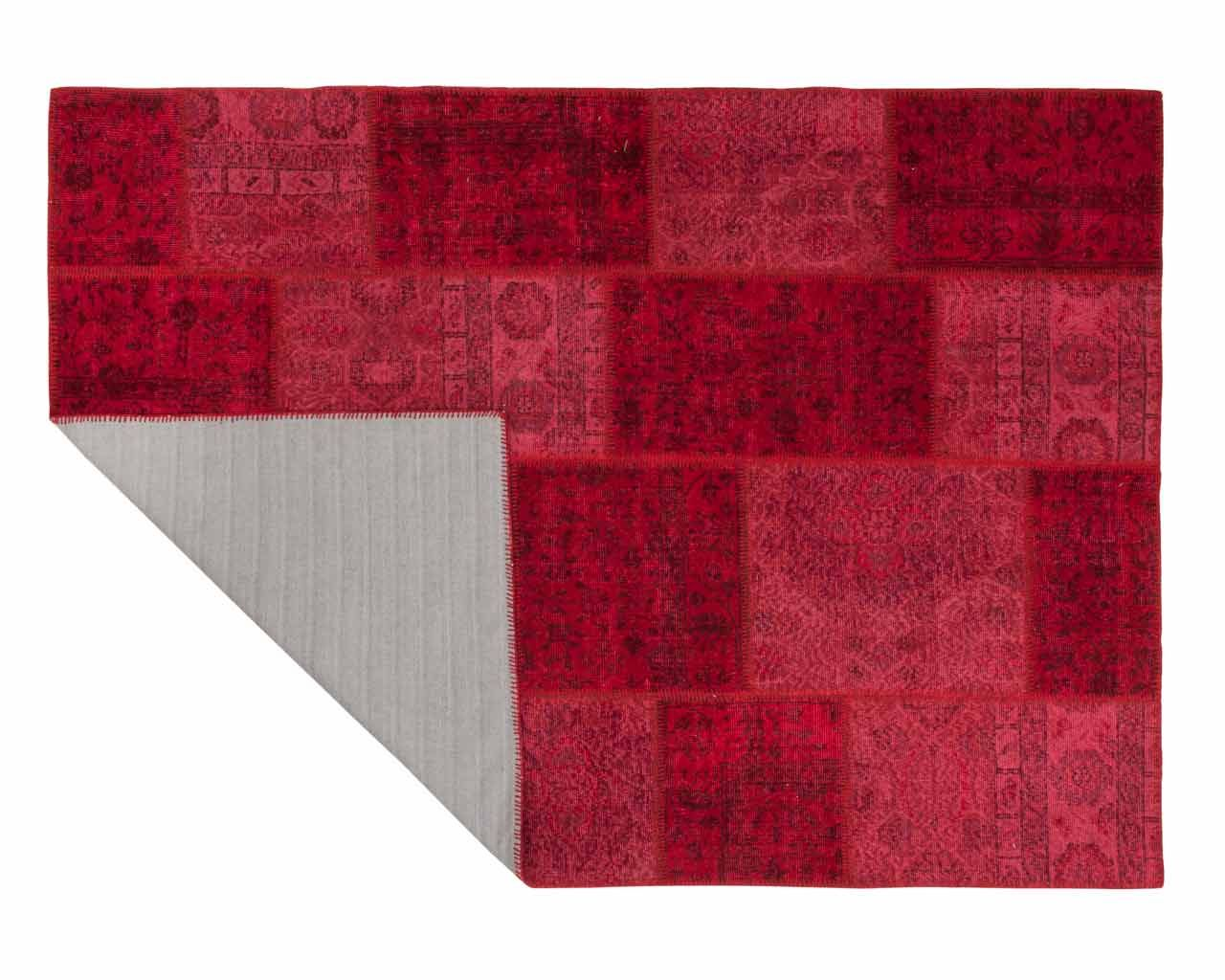 patchwork overdyed red rugs