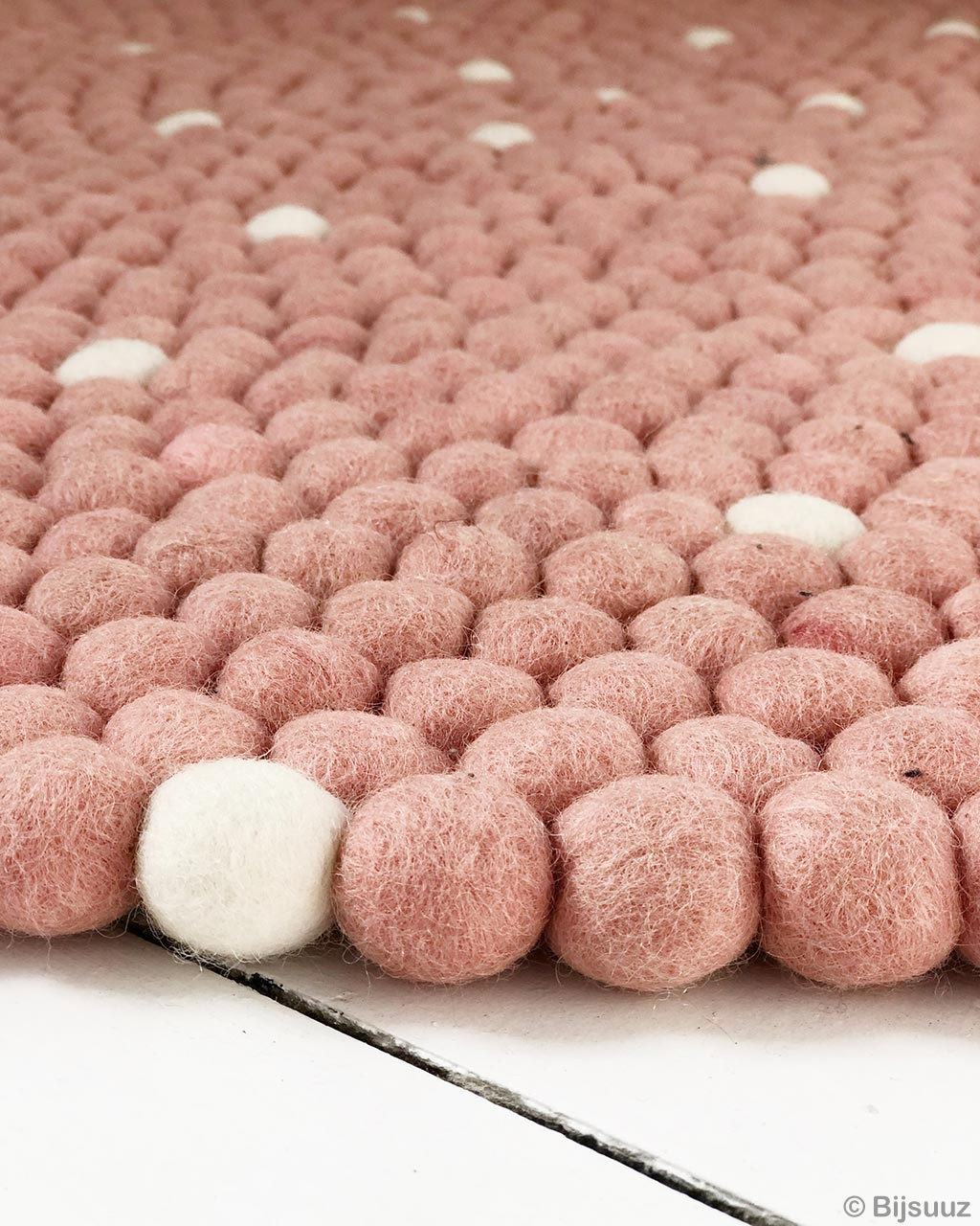 contemporary tea pink felt ball with white pattern rugs