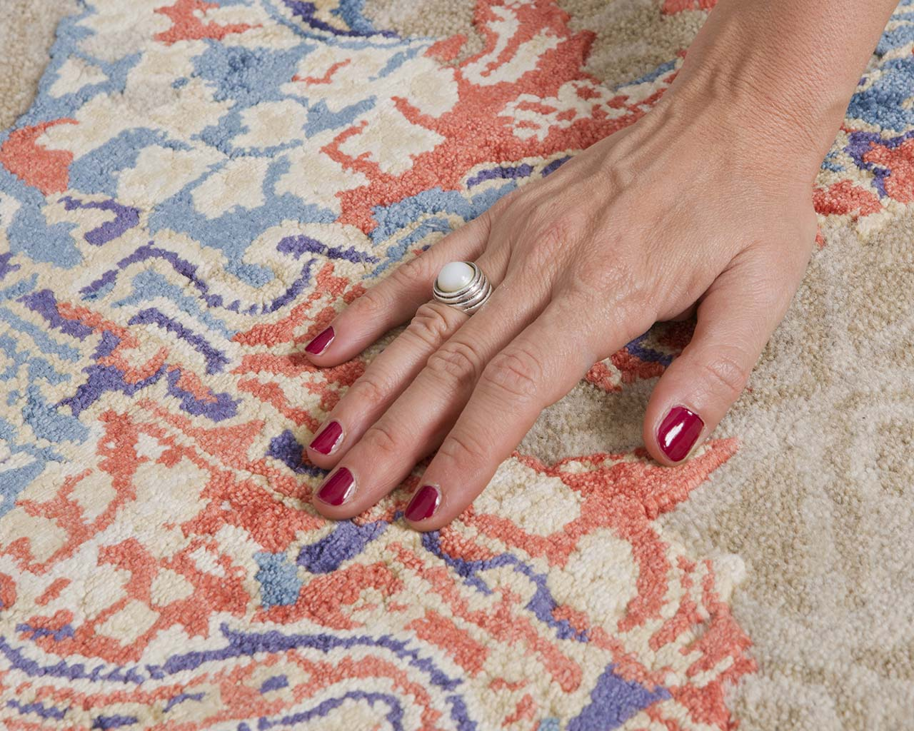 crimson fresh hand with red nail polish persian style area rugs