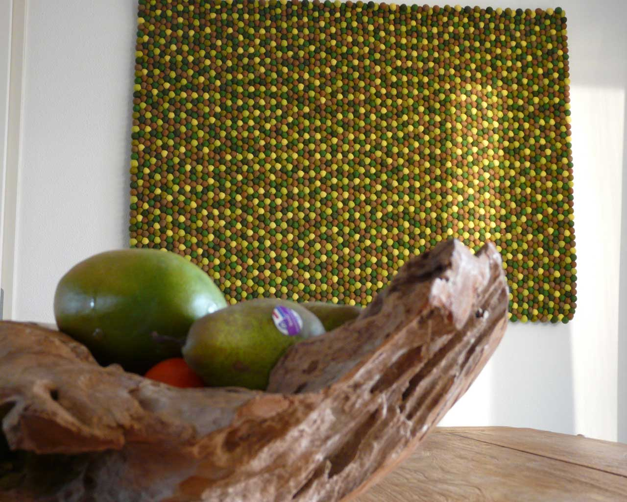 hand knotted fruits made in nepal modern green and yellow felt ball rug store
