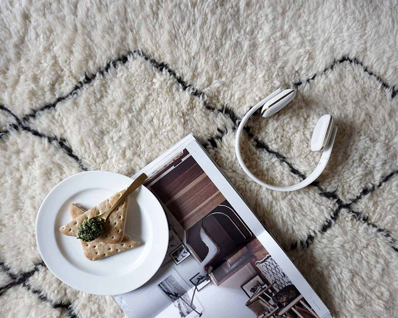 handmade headphone biscuits and magazine asian rugs