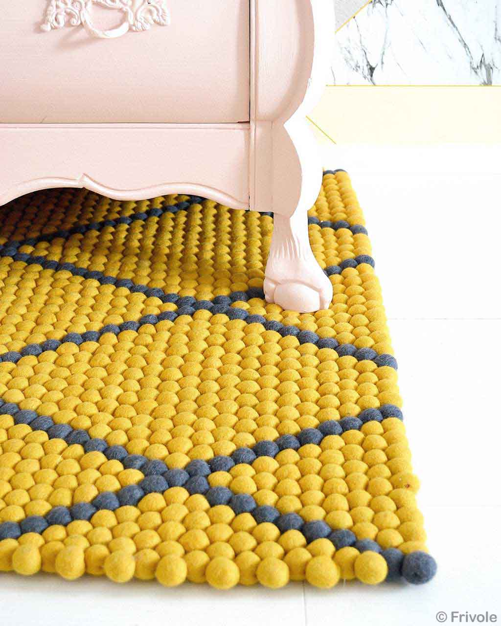 handmade pink chest nepal yellow felt ball rugs