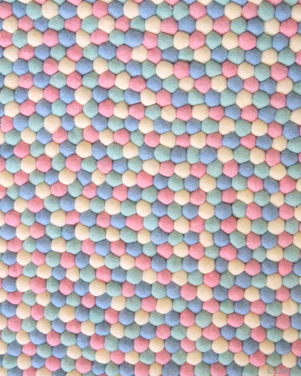 made by nepalian pink yellow and blue felt ball lounge rugs