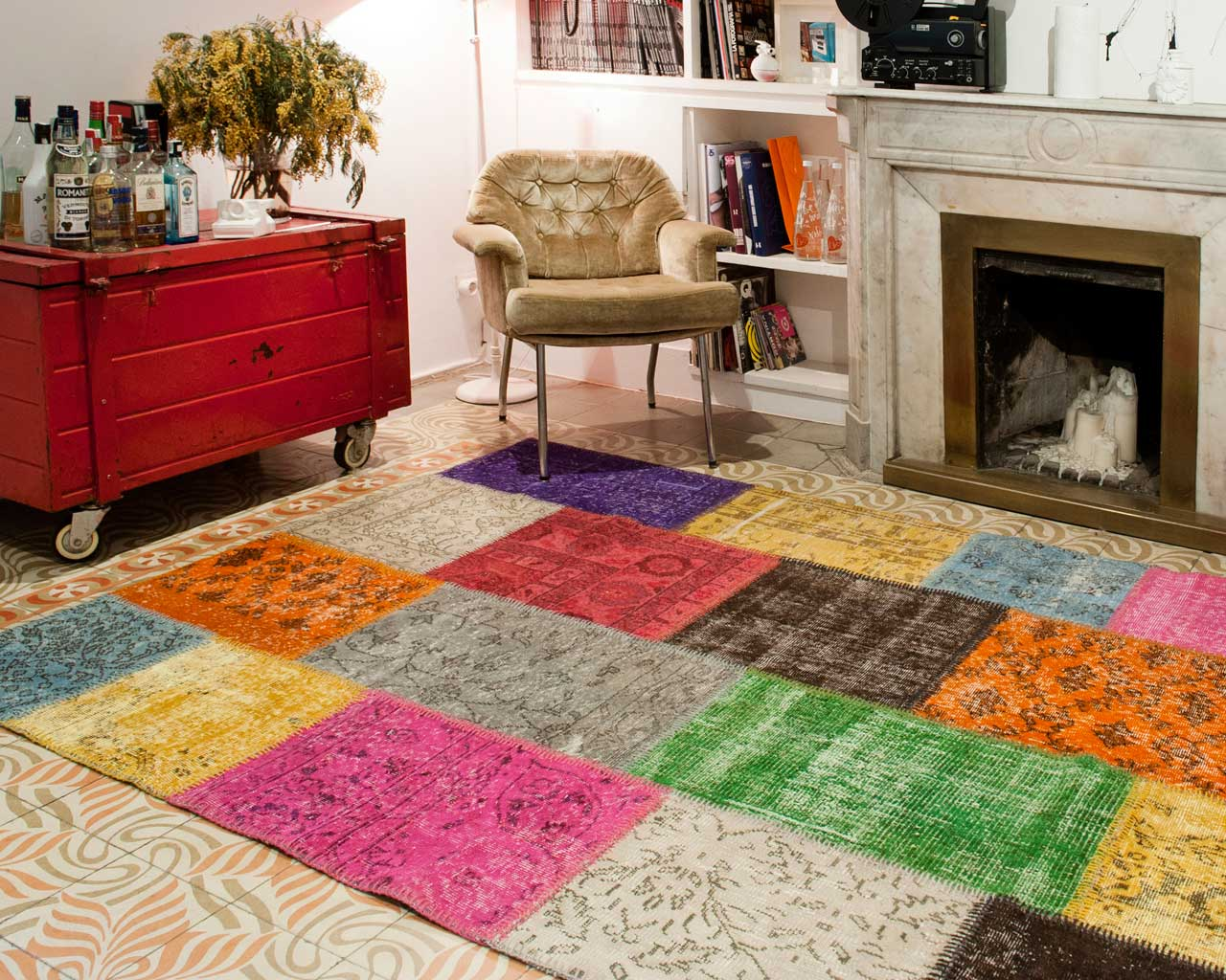 custom vintage patchwork carpet multi colour