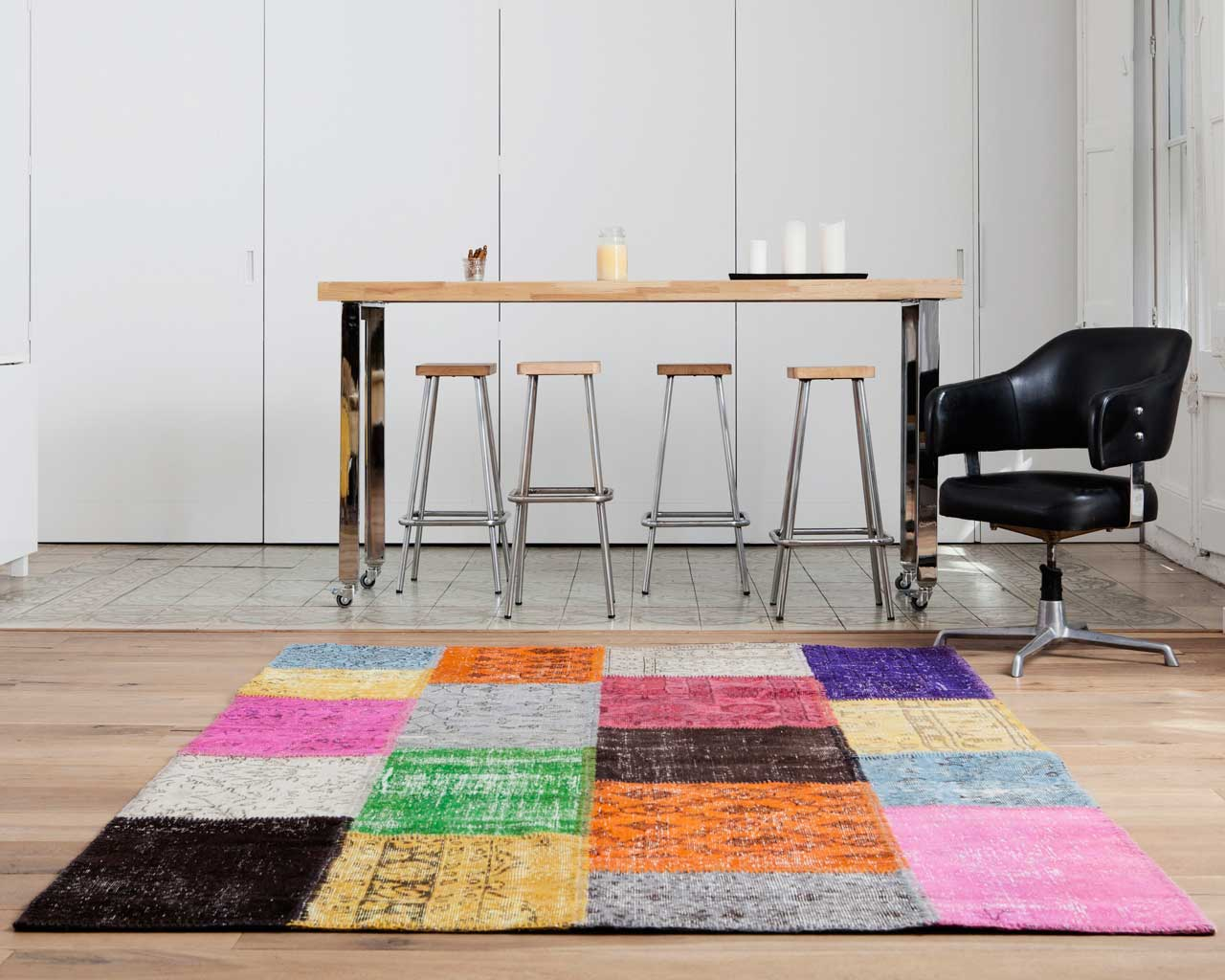 custom vintage patchwork carpet multicolour