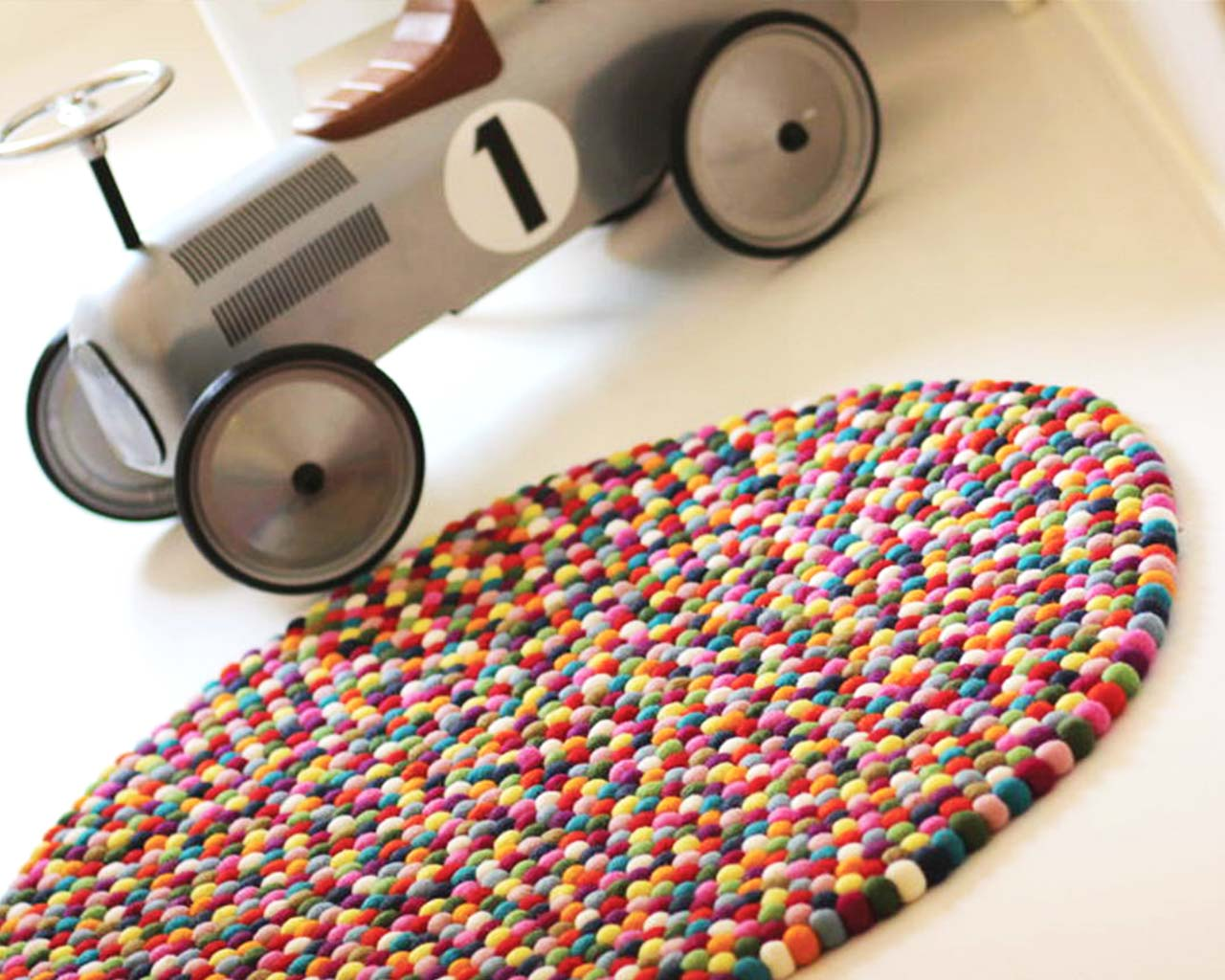 car white floor multi color carpet