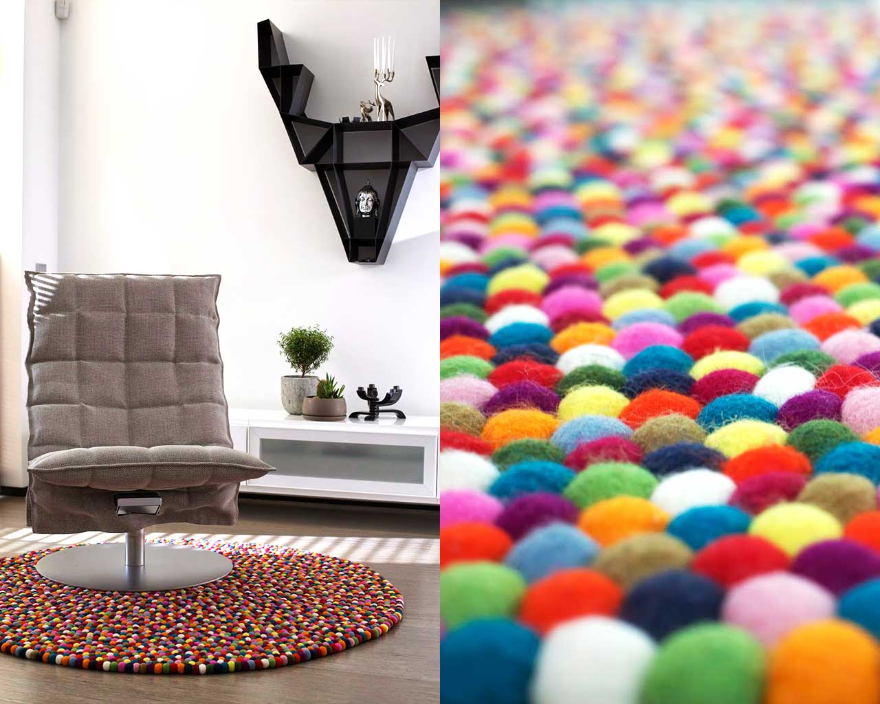design chair white wall colourful felt carpet