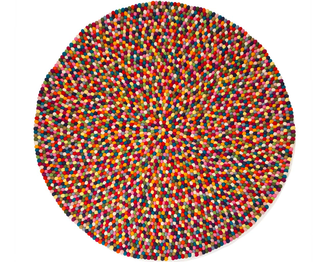 multi colour felt ball rug